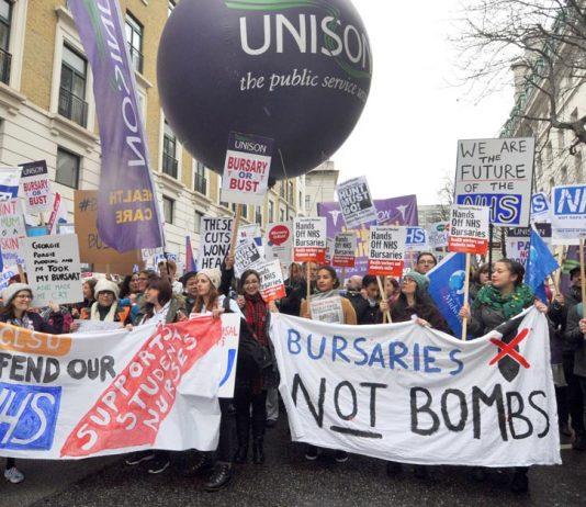 Student nurses campaigning against tuition fees replacing bursaries