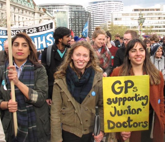 GPs taking part in a demonstration of junior doctors