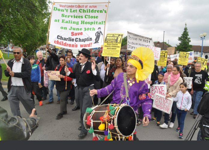 Saturday's 200-strong West London Council of Action march to stop the closure of Ealing Hospital Children's Services arrives at the hospital