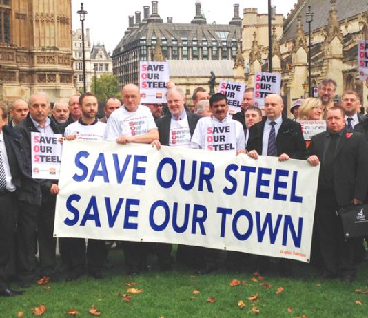 Port Talbot steel workers outside parliament demanding action to save the steel industry – a thousand march tomorrow