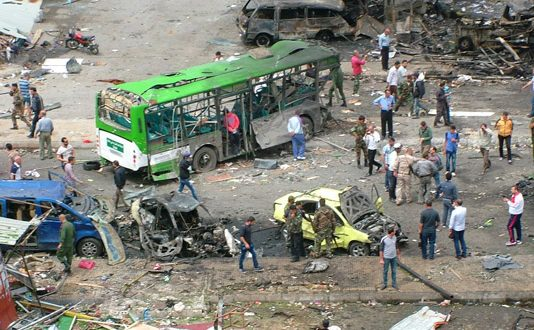 Devastation after a terrorist bomb blew up at a bus station in Jableh, killing at least 73 and wounding many others