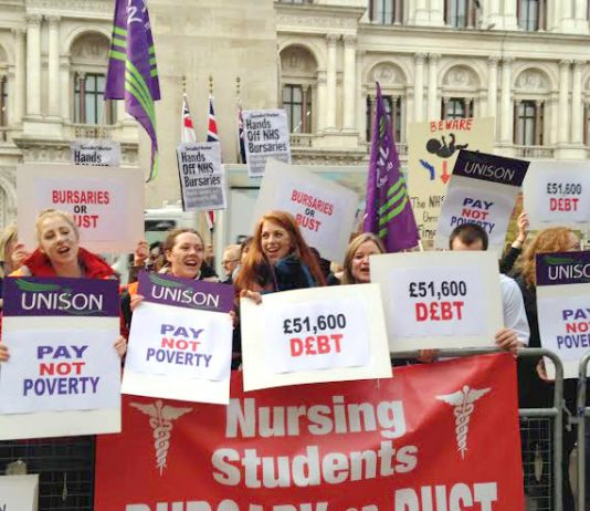 Student nurses and midwives outside the Department of Health demanding that their bursaries are restored
