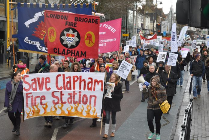 Demonstration in Lambeth in March 2013 against the closure of Clapham Fire Station