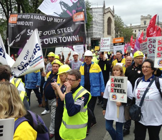 A section of the steel workers' march on its way to parliament