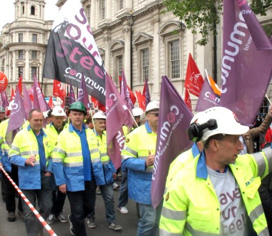 Steel workers on the march to Parliament on Wednesday