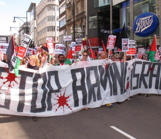 London marchers against the Israeli occupation. The Tories have banned councils from supporting boycotts of Israel