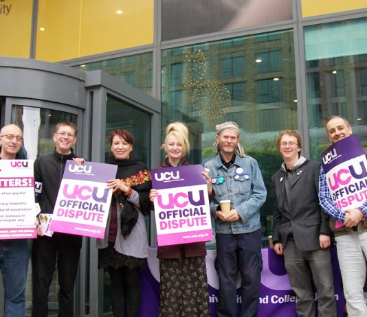 London Met University lecturers on the picket line during last week's 2-day UCU nationwide strike – now 395 more jobs are to be axed there