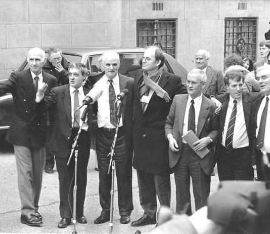 JOHN WALKER, PADDY HILL, HUGH CALLAGHAN, Labour MP CHRIS MULLEN, RICHARD McILKENNY, GERRY HUNTER and BILLY POWER outside the Old Bailey after their convictions for the Birmingham pub bombings were quashed on March 14, 1991
