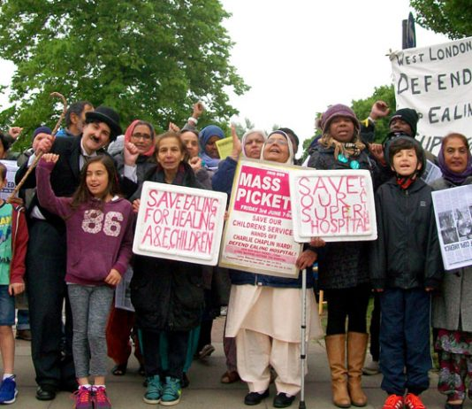 Children joined the 50-strong mass picket outside Ealing Hospital yesterday morning calling for strike action and occupation to save the Charlie Chaplin children's ward