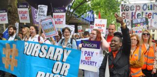 Student nurses marching in London on Saturday demanding that their bursaries be maintained