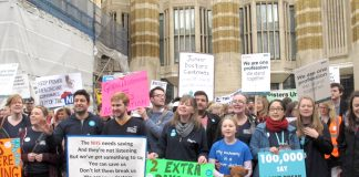 Striking junior doctors demonstrate against the imposed contract outside the Department of Health in Whitehall