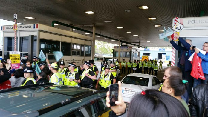 Refugee supporters were blocked by police from boarding the ferry at Dover