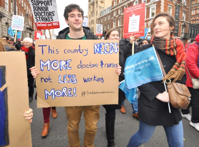 Junior doctors in the front line against imposed contracts, privatisation and not getting the number of staff that the NHS requires