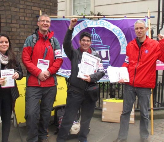 UCU strikers at University College London during last month's strike over pay