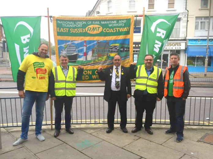 MICK CASH RMT general secretary (second from left) joined the RMT picket line at Eastbourne yesterday morning