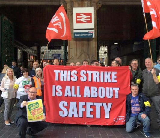 ScotRail RMT members on the picket line at Glasgow Central Station on the second day of their strike over safety