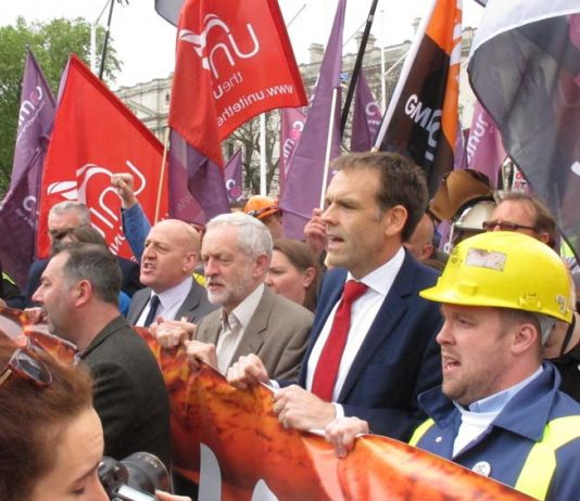 JEREMY CORBYN with a number of trade union leaders at the front of a recent steelworkers demonstration in London