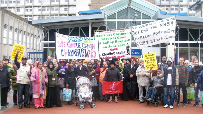A section of the rally outside the main entrance of Ealing Hospital on Wednesday afternoon