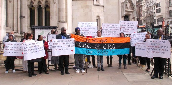 Chagossians demonstrating outside the High Court in 2014