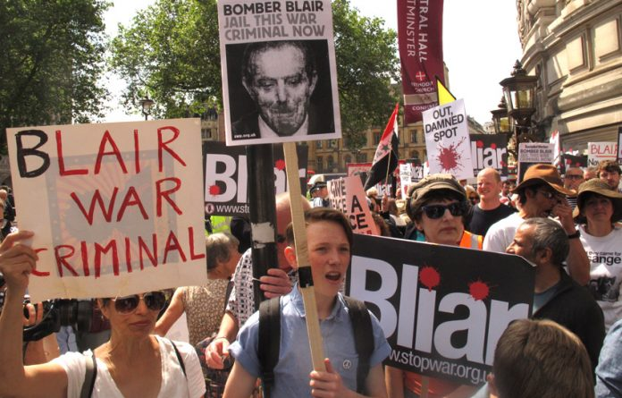 Yesterday's rally outside the QE2 Centre as Chilcot made his long awaited report public