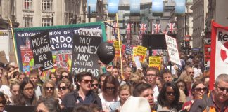 Teachers demanding more funding and an end to government cuts to education – teachers want smaller class sizes and are opposed to academisation