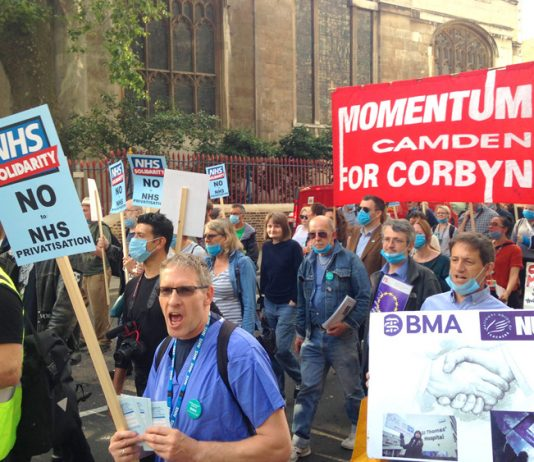Demonstration to defend the NHS marching from Bart's Hospital on Thursday evening