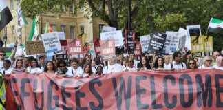 The front of the 100,000-strong 'Refugees Welcome' march in London last September