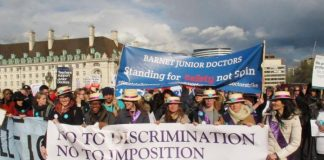 Junior doctors battling against the attempt by Health Secretary Hunt to dictate their contract to them