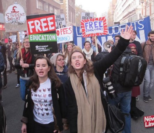 Students marching against tuition fees. They are now even angrier as fees are being hiked above £9,000!