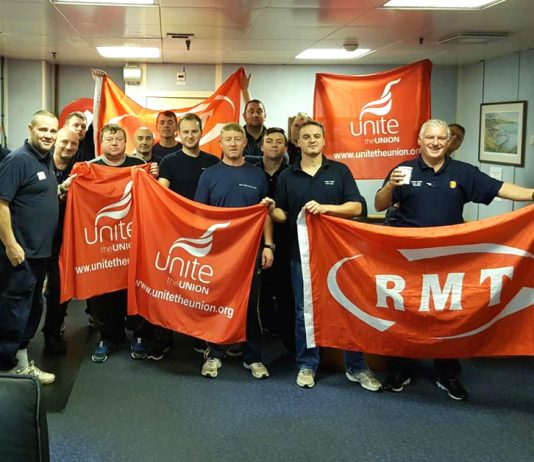 RMT members on the second day of their strike action on the Wood Group Shell. Photo Credit: RMT
