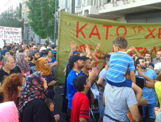 Refugees demonstrate on Thursday evening in Athens against police raids Photo credit: NASEEM LOMANI/KIRIAKI KROK