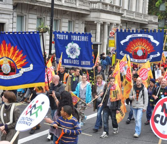 Firefighters from across the country taking part in a TUC national demonstration against austerity
