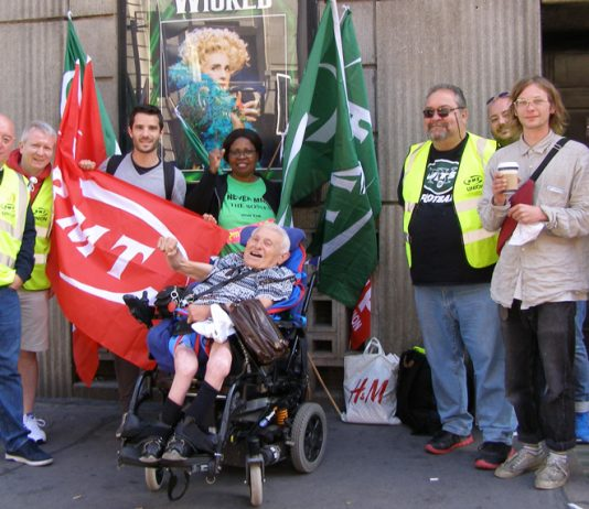 RMT members and commuters on the picket line at Victoria Station. PETER DUBOIS, a wheelchair user said 'I believe that guards must be on trains. If anything went wrong I'd need the help of a guard'