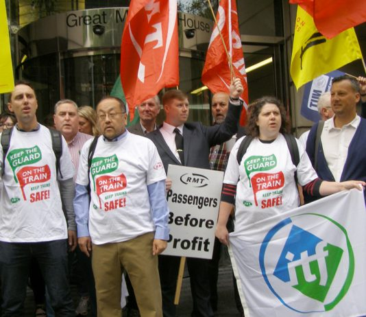 RMT members and supporters demonstrating outside the Department for Transport yesterday morning – later on in the afternoon the government conceded there would be talks at Acas