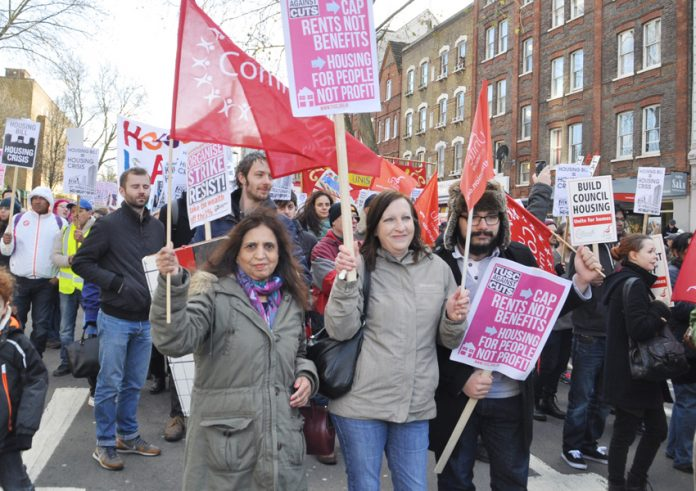 March to City Hall, London, demanding council homes for all and an end to evictions