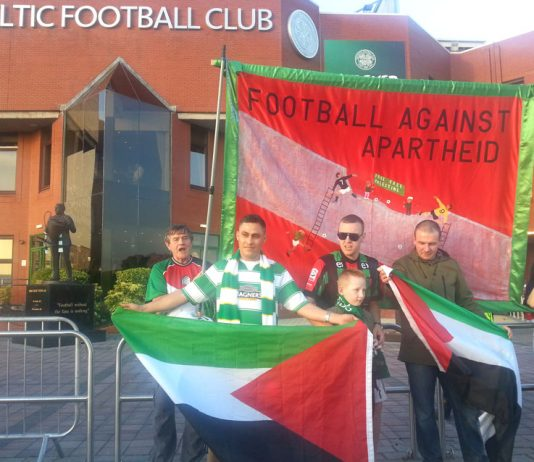 Celtic supporters flew the Palestinian flag both outside and inside the ground last Wednesday evening