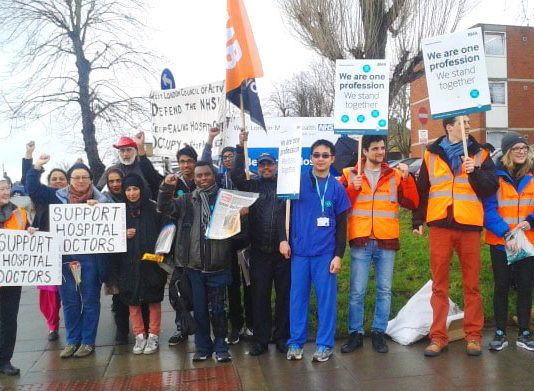 West London Council of Action campaigning to save Ealing Hospital's A&E – picketing alongside junior doctors during their last strike