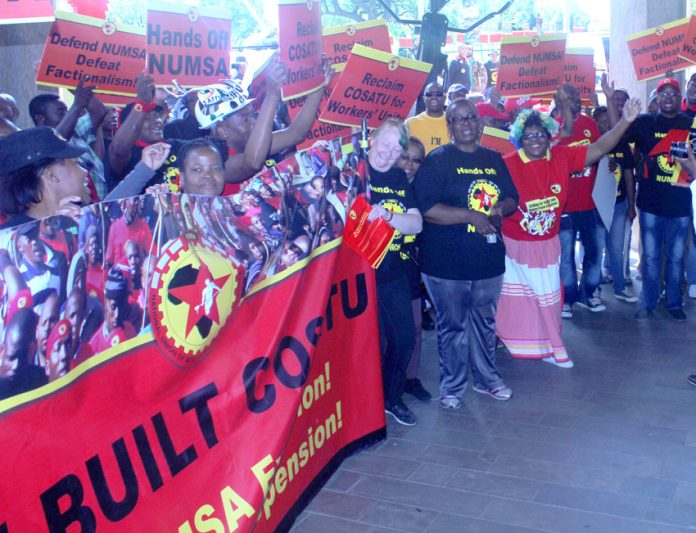 NUMSA members demonstrate outside COSATU House against their expulsion