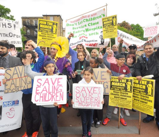 Rally in front of Ealing Hospital in May to defend children's services