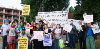 Lively mass picket of Ealing Hospital gave its full support to the decisive strike actions called by the junior doctors