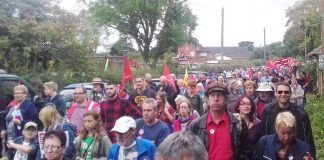 On the 102nd anniversary of the Burston strike over 1,000 marched to a rally that was addressed by Labour leader Corbyn