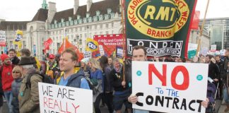 Teachers and doctors called a joint march at which PCS, RMT, FBU and ASLEF attended – all unions must strike together to defend the NHS