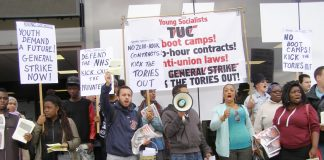 Young Socialists and WRP members lobbying the TUC last year demanding 'No Zero-Hours Contracts' and 'End Slave Labour for Youth'
