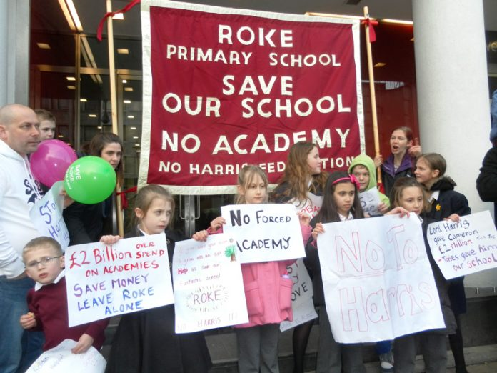 Demonstration against Roke Primary School being turned into an academy – two academies a week face formal interventions
