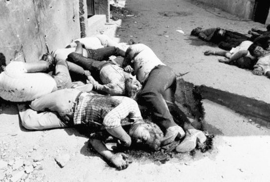 Palestinian children killed at the Sabra and Shatila refugee camps in West Beirut during the massacre in 1982, facilitated by Ariel Sharon