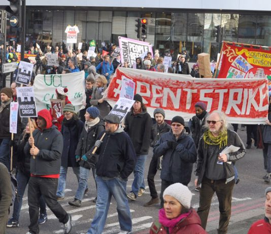 Students with their 'Rent Strike' banner on a march against the Housing Bill earlier this year