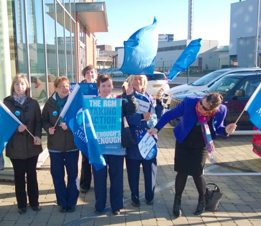 RCM midwives came out on strike in Belfast in April 2015 for the first time in their history – they will shortly be out again, fighting for a living wage increase