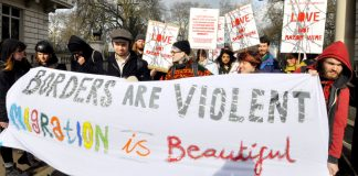 'Valentine's Day' demonstration in support of the refugees in Calais outside the French Embassy in London