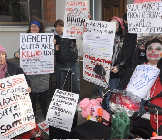 Disabled protest against private company Maximus taking over disability assessment testing