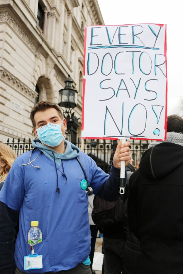 Junior doctors during a demonstration in February – they say 'No!' to the new contract